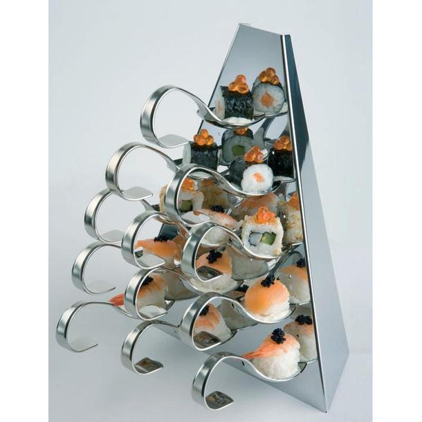 DISPLAY TRIANG. INOX P/BUFET 27CM ALT.(12 COLHERES)