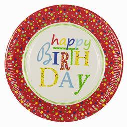 10 PRATOS REDONDOS 23CM HAPPY BIRTHDAY