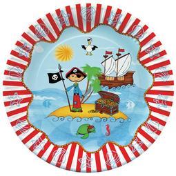10 PRATOS CARTÃO RED. 23CM PIRATE ISLAND